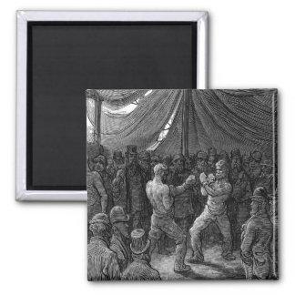 Combate de boxeo del Victorian Imán Cuadrado