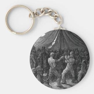 Combate de boxeo del Victorian Llavero Redondo Tipo Pin