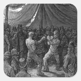 Combate de boxeo del Victorian Pegatina Cuadrada