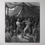 Combate de boxeo del Victorian Poster