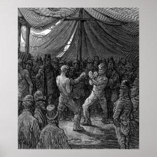 Combate de boxeo del Victorian Póster