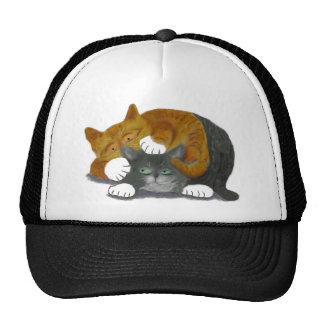 Combate de lucha con dos gatos gorras de camionero