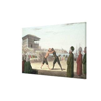 Combate de lucha, Constantinopla (w/c en el papel) Lona Envuelta Para Galerias