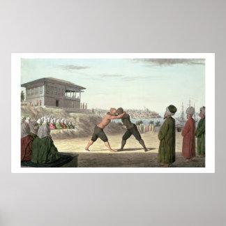 Combate de lucha, Constantinopla (w/c en el papel) Impresiones