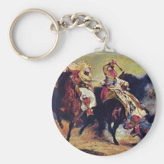 Combate del Giaour y el bajá por Delacroix Llavero Redondo Tipo Pin