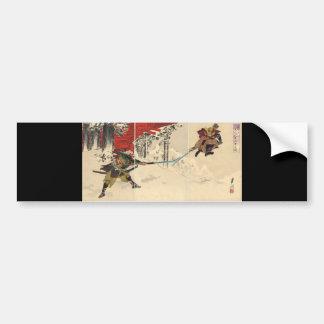 Combate del samurai en la nieve circa 1890 pegatina para auto