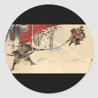 Combate del samurai en la nieve circa 1890 etiquetas redondas