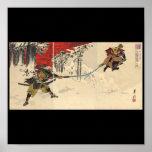 Combate del samurai en la nieve circa 1890 póster