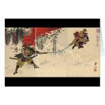 Combate del samurai en la nieve circa 1890 tarjetas