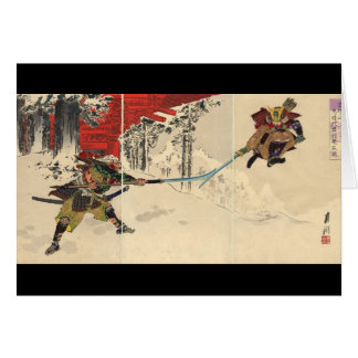 Combate del samurai en la nieve circa 1890 tarjeta de felicitación
