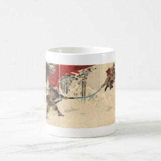 Combate del samurai en la nieve circa 1890 taza de café