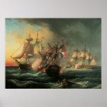 Combate naval - las derechas del hombre e póster