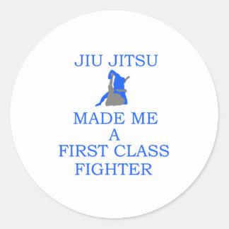 combatiente brasileño del jitsu del jiu pegatina redonda