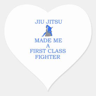 combatiente brasileño del jitsu del jiu pegatina en forma de corazón