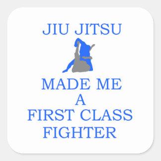 combatiente brasileño del jitsu del jiu pegatina cuadrada