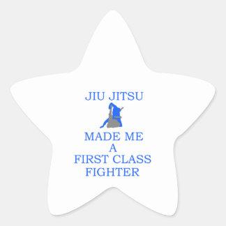combatiente brasileño del jitsu del jiu pegatina en forma de estrella