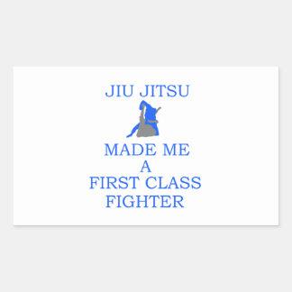 combatiente brasileño del jitsu del jiu pegatina rectangular