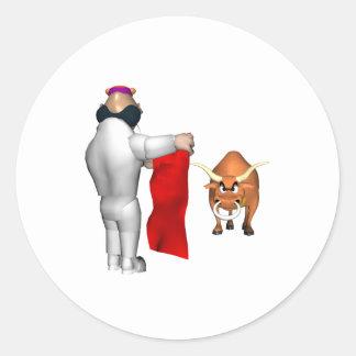 Combatiente de Bull Pegatinas Redondas