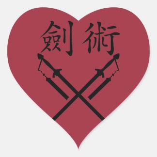 Combatiente de la espada pegatina en forma de corazón
