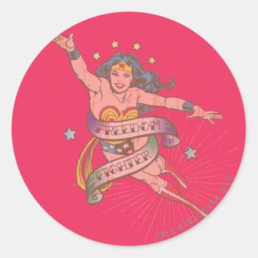 Combatiente de la libertad de la Mujer Maravilla Pegatina Redonda