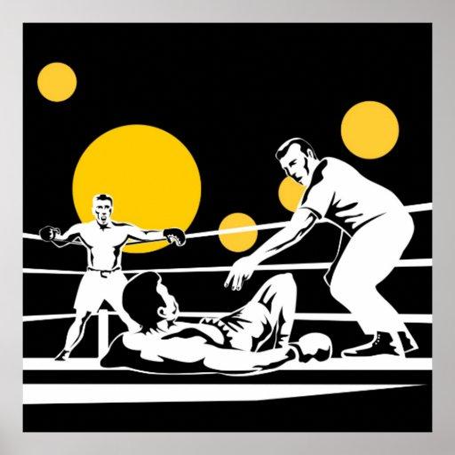 combatiente del boxeador del boxeo que lucha el sa póster