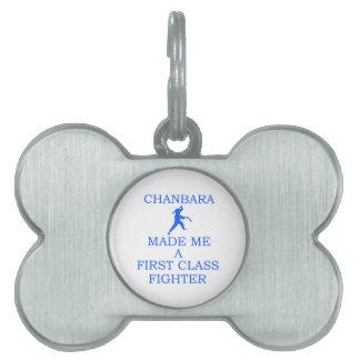 combatiente del chanbara placa de nombre de mascota