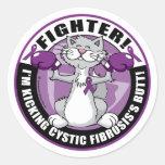 Combatiente del gato de la fibrosis quística pegatina redonda