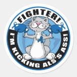 Combatiente del gato del ALS Etiqueta Redonda