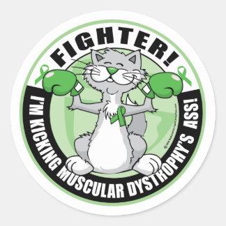 Combatiente del gato del boxeo de la distrofia pegatina redonda