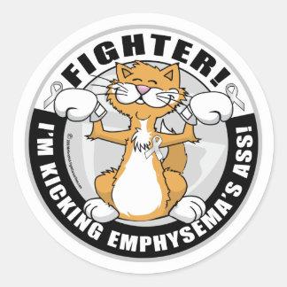 Combatiente del gato del enfisema pegatina redonda