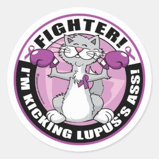 Combatiente del gato del lupus pegatinas redondas