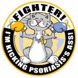 Combatiente del gato del psoriasis escultura fotográfica