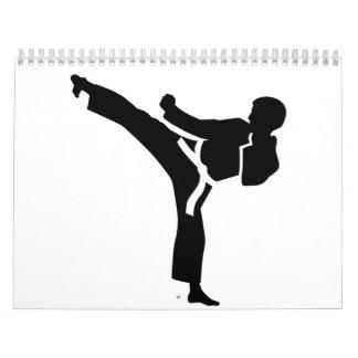 Combatiente del karate calendario