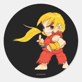 Combatiente estupendo II Turbo Ken del Pegatina Redonda