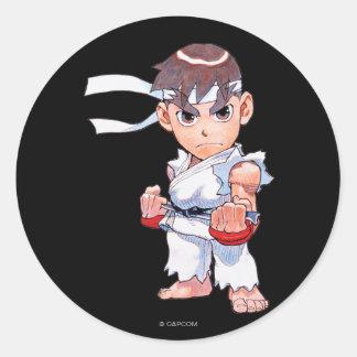 Combatiente estupendo II Turbo Ryu del Pegatina Redonda