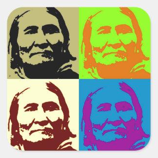 Combatiente Geronimo de la libertad del arte pop Pegatina Cuadrada