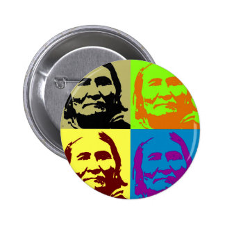 Combatiente Geronimo de la libertad del arte pop Pin Redondo De 2 Pulgadas