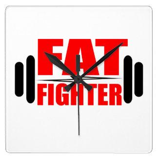 Combatiente gordo reloj cuadrado
