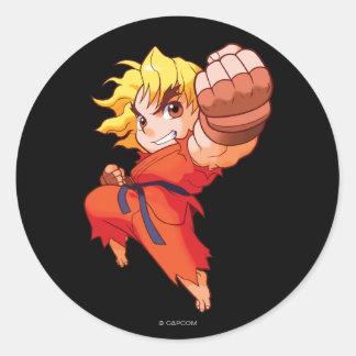 Combatiente Ken del bolsillo Pegatina Redonda