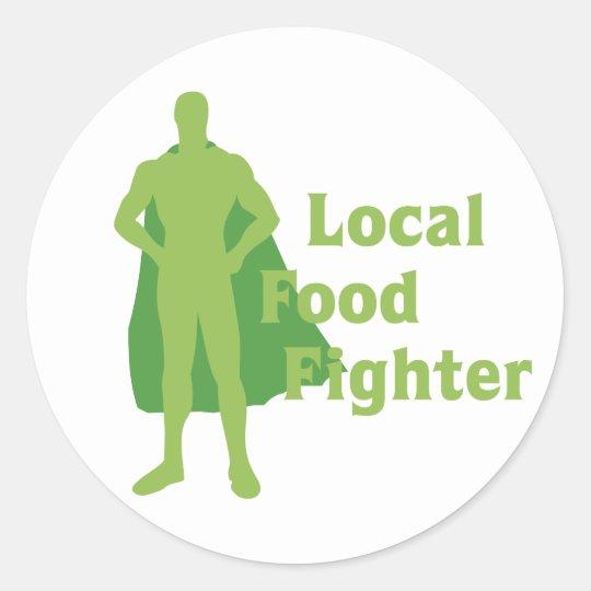 Combatiente local de la comida pegatina redonda