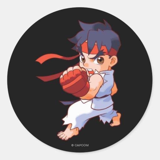 Combatiente Ryu 2 del bolsillo Etiqueta Redonda