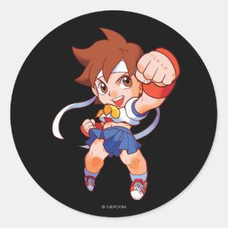 Combatiente Sakura 2 del bolsillo Pegatina Redonda
