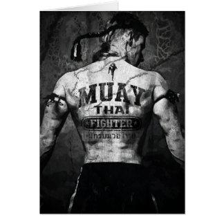 Combatiente tailandés de Muay del vintage Tarjeta De Felicitación