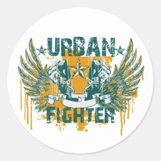 Combatiente urbano pegatina redonda