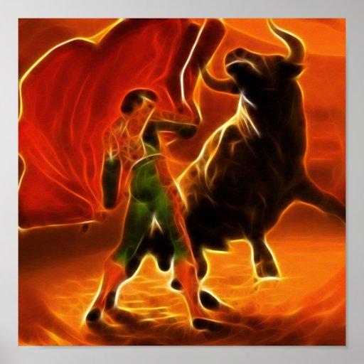 Combatiente y EL Toro de Bull Póster