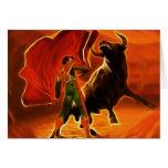 Combatiente y EL Toro de Bull Tarjeta