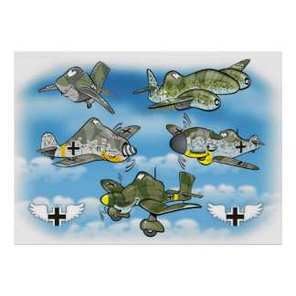 combatientes famosos ww2 del luftwaffe póster