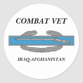 CombatInfBadge1Awd, COMBAT VET, IRAQ-AFGHANISTAN Classic Round Sticker