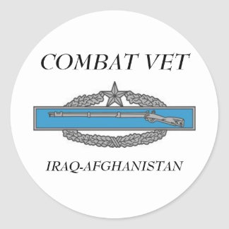 CombatInfBadge2Awd, COMBAT VET, IRAQ-AFGHANISTAN Classic Round Sticker
