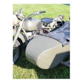 Combinación militar de la motocicleta del vintage postal